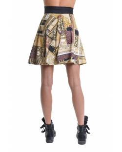PATTERNED FLANING SKIRT WITH EMBROIDERED WAIST 11BPT723